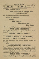 Advert For 'The Train', Periodical reverse